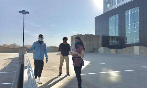 Iowa City artists create calming experience atop downtown parking ramp