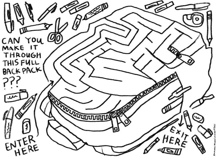 Escape the maze through this messy backpack