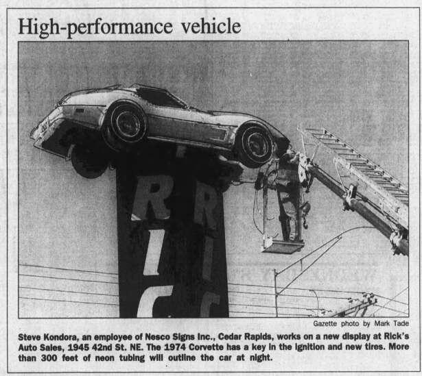 Iconic Cedar Rapids auto sign at Rick's Auto Sales catches fire again