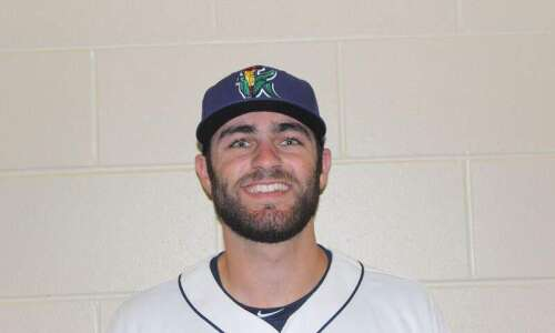 Max Cordy makes a pitch for C.R. Kernels teammate Griffin…