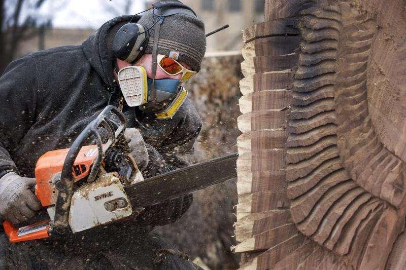 Chain saw artists carve beauty out of derecho destruction
