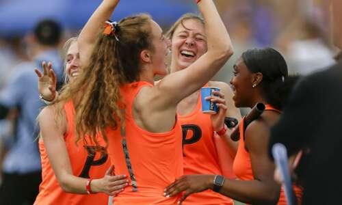 Cedar Rapids Prairie girls' distance medley watches, waits, wins