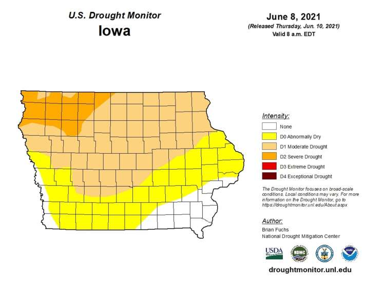 Nearly 90% of Iowa at or near drought