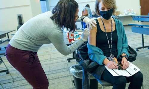 Linn County school nurses get vaccinated for the coronavirus