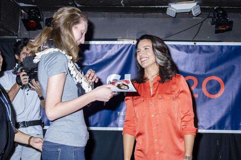 In Iowa City stop, Hawaii presidential hopeful pitches legal marijuana, Medicare for all