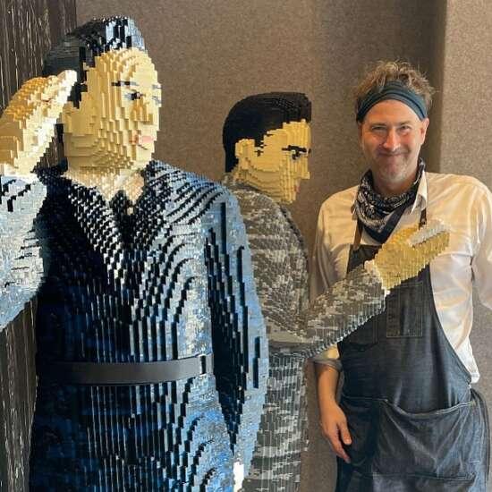 Iowa State alum building life-size George Washington Carver Lego sculpture at Iowa State Fair