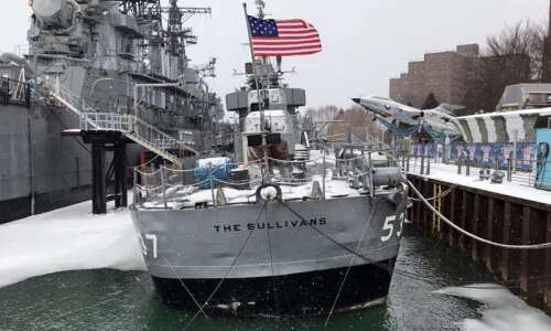 U.S. Navy destroyer honoring Waterloo's Sullivan brothers taking on water