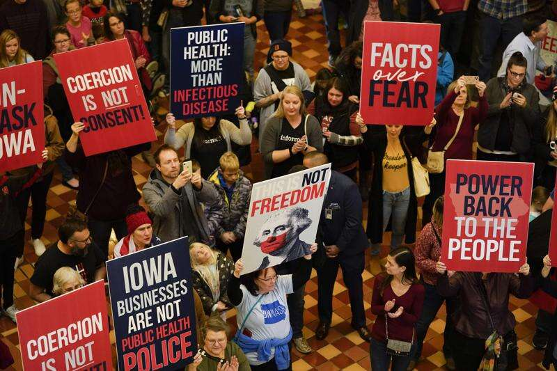 Anti-mask protest marks opening of 2021 Iowa Legislature