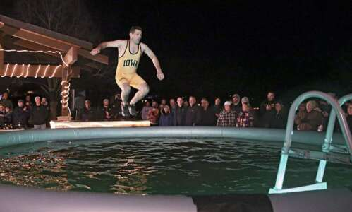 Photos: Hawkeye Wrestling Club brave the cold in Arctic Plunge