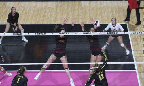 Photos: Boyden-Hull vs. Denver, Iowa Class 2A state volleyball tournament…