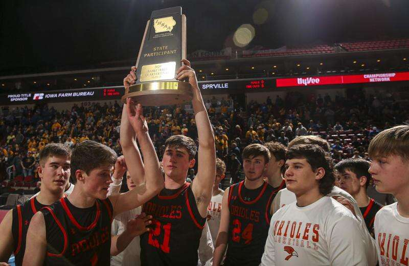 Springville comes up just short in boys' state basketball tournament loss to Algona Garrigan