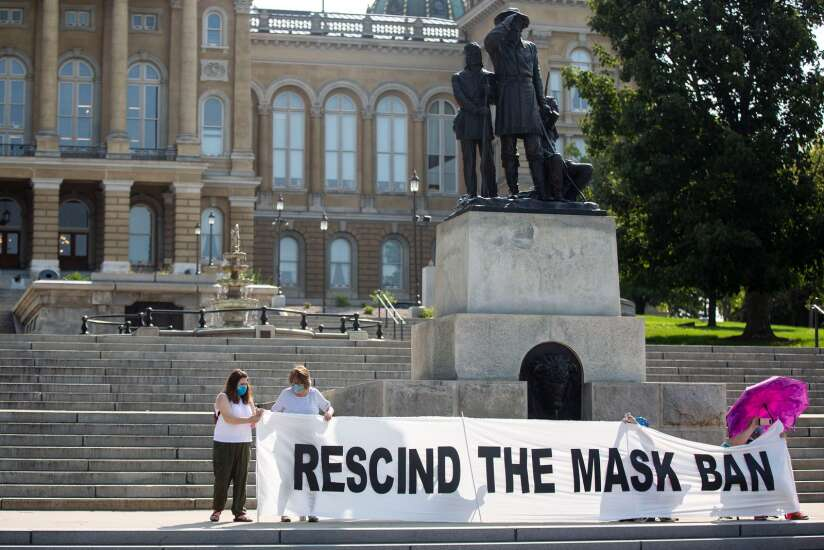 Protesters call on Iowa Gov. Kim Reynolds to allow school mask orders