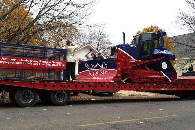 Bulldozer from Eastern Iowa company sends heavy-duty message to Obama
