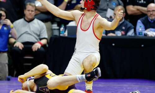 Lisbon's Carter Happel one win from fourth Iowa state wrestling…