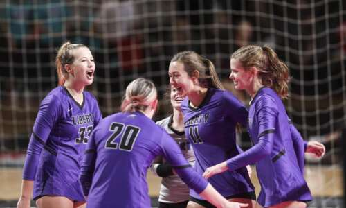 Liberty clinches state volleyball quarterfinal win over Valley with big…