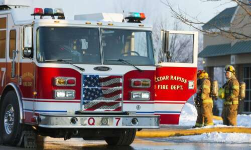 Cedar Rapids firefighters respond to a second fire in Riley's…
