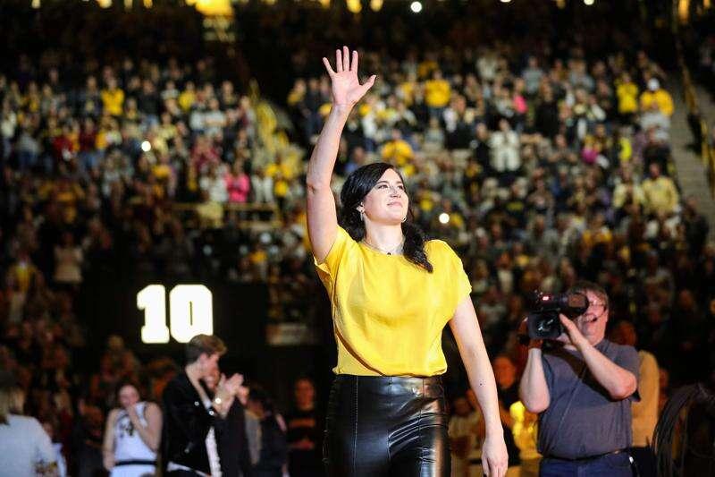 Scenes from Megan Gustafson's Iowa jersey retirement ceremony