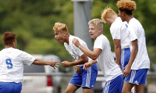 West Liberty vs North Polk in the boys' 1A soccer…