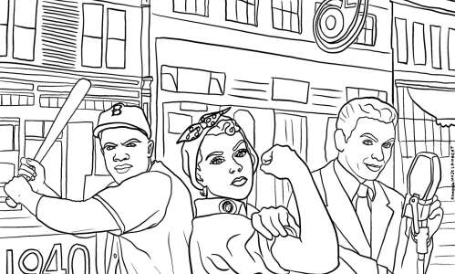 Coloring page: Travel back to the 1940s