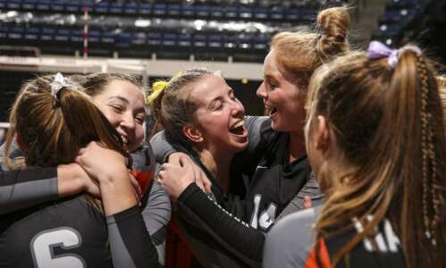 Photos: West Delaware vs. Gilbert, Iowa Class 4A state volleyball…