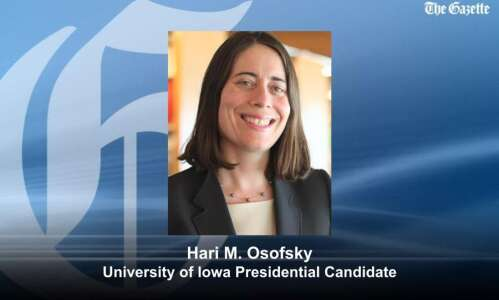 Hari Michele Osofsky is first University of Iowa presidential finalist…