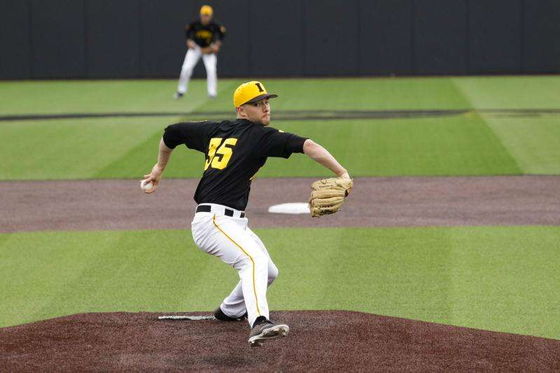 Iowa pitcher Cam Baumann's velocity down, but command and results up