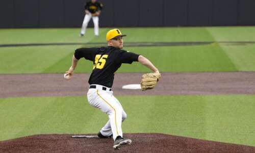Iowa pitcher Cam Baumann's velocity down, but command and results…