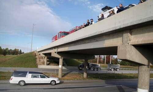Procession honors trooper killed in NE Iowa crash
