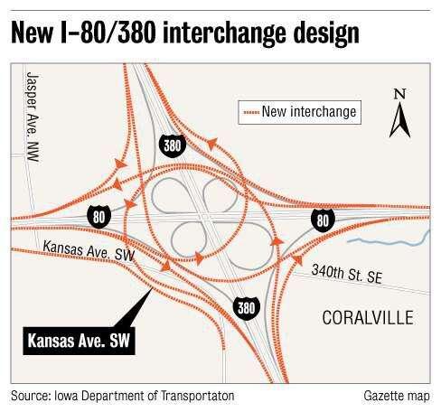 Interstate 380/80 interchange worst heavy truck rollover spot in Iowa