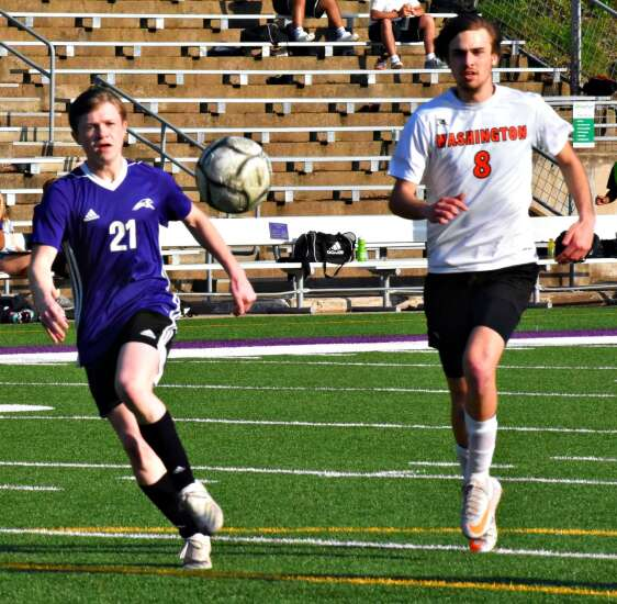 Washington gets boys soccer win behind Stout's 4 goals