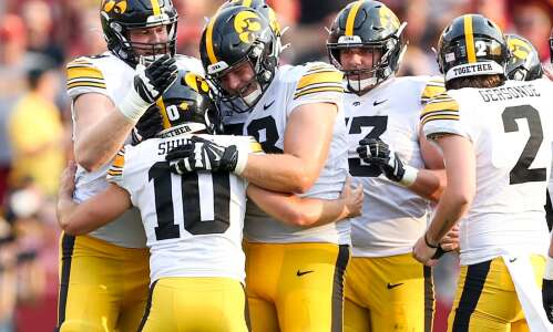 Increasing offensive production rests on Iowa's young offensive line