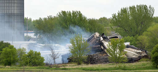 Evacuation order still in place after fiery Iowa derailment