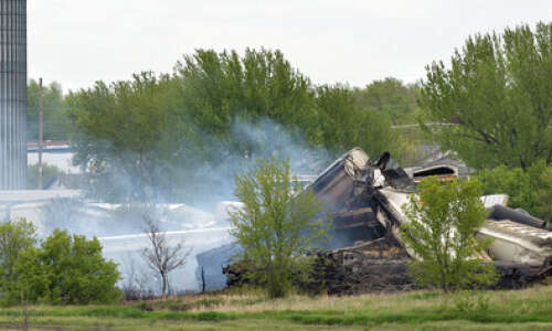 Evacuation order still in place after fiery Iowa derailment
