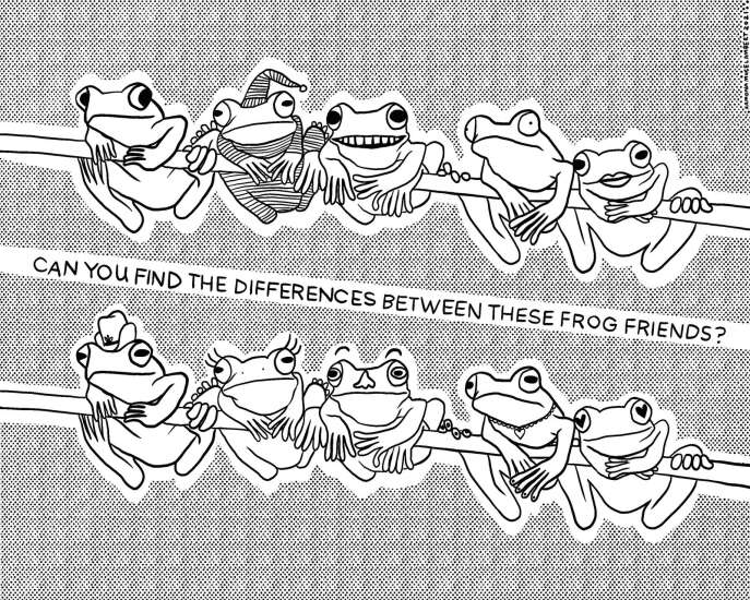 Can you spot all the differences among these frogs?