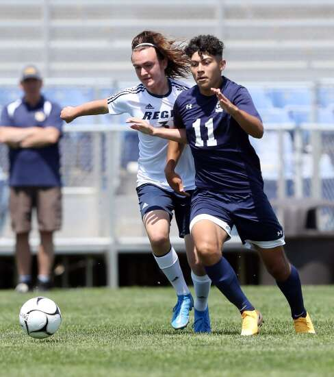 Photos: Iowa City Regina vs. Notre Dame West Burlington, Iowa Class 1A boys' state soccer semifinals