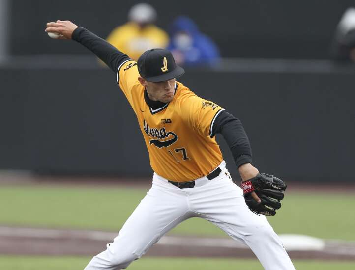 Dylan Nedved shows off two-way prowess as Iowa baseball sweeps Minnesota