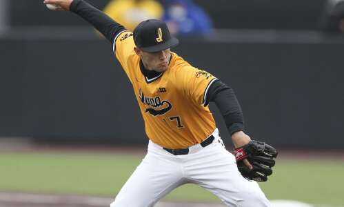 Dylan Nedved shows off his two-way prowess as Iowa baseball…