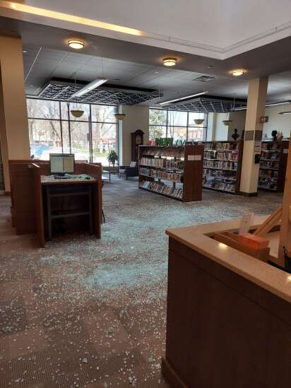 Library window crashes down, causing significant damage