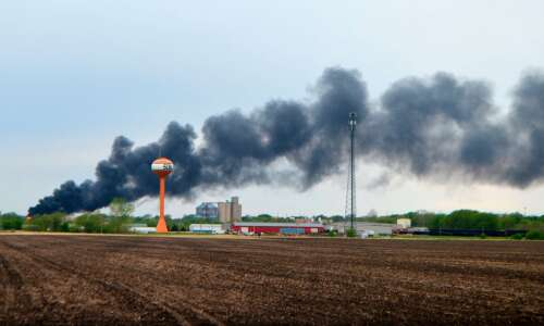 Fiery train derailment prompts evacuation of small Iowa town