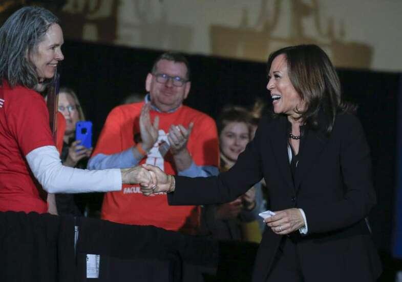 To Iowa City crowd, Kamala Harris brings welcome emphasis on education