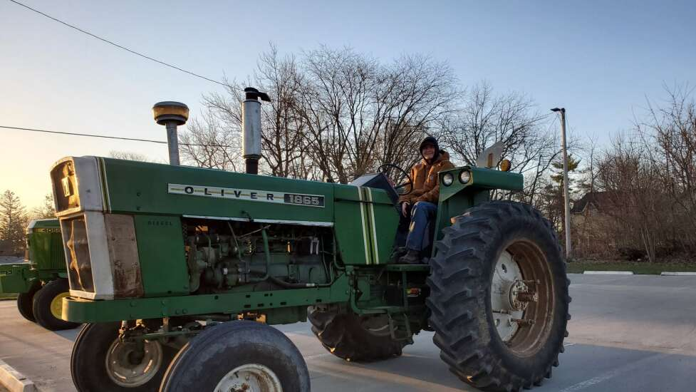 FFA students drive tractors to school