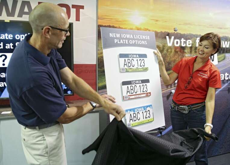 Iowa's three potential license plate designs unveiled