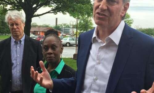 In Iowa, Mayor Bill de Blasio promises to take on…