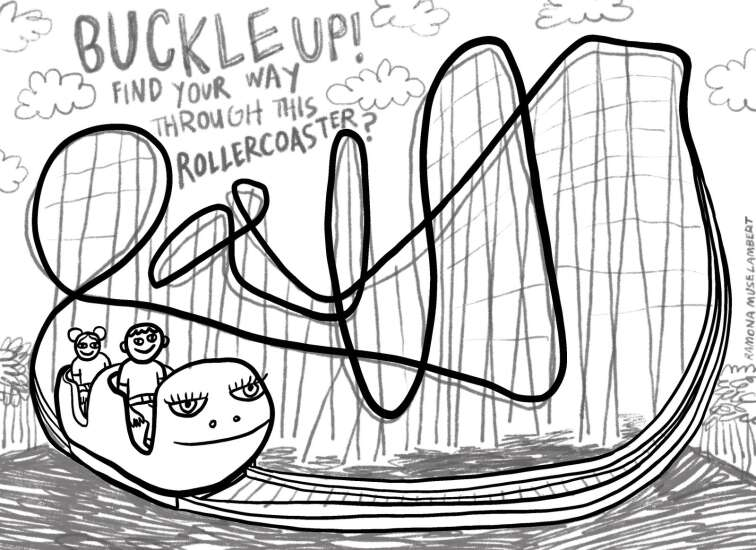 Find your way through this twisting roller coaster