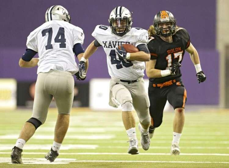 No. 1 Cedar Rapids Xavier rolls past No. 3 Solon in state football semifinals