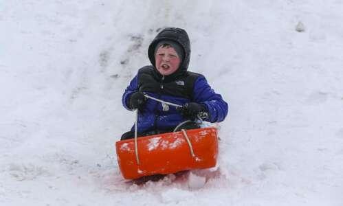 Photos: Saturday afternoon sledding in NW Cedar Rapids