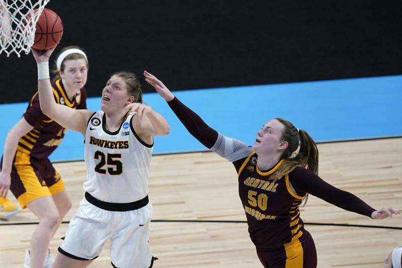 Iowa clears first NCAA women's basketball hurdle, 87-72, over Central Michigan
