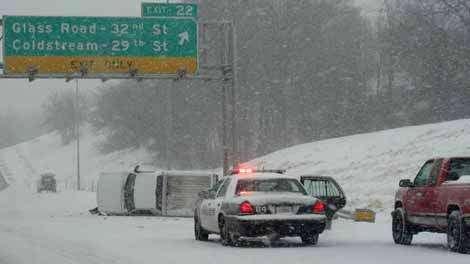 Rollover crash slows southbound Interstate 380 traffic
