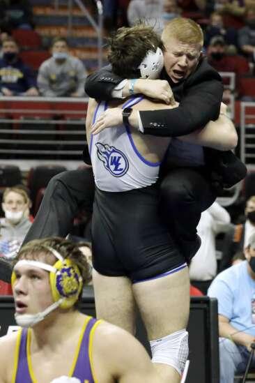 State wrestling takeaways: West Liberty's Kobe Simon climbs to top of podium