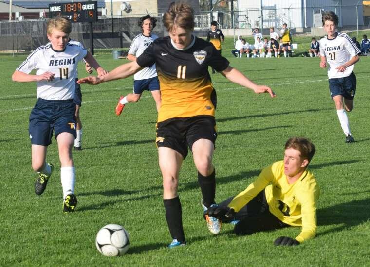 Regals romp past Golden Hawks in boys soccer